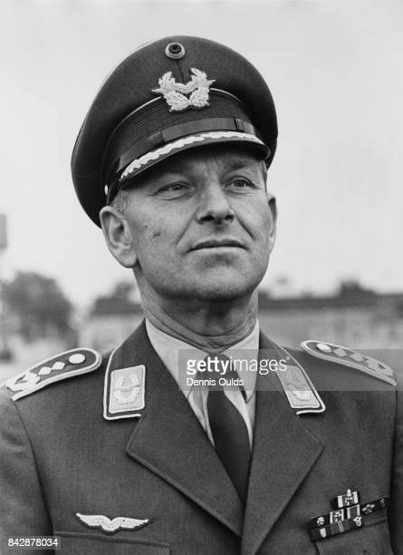 Former Luftwaffe fighter ace Colonel Gerhard Barkhorn Deputy Commanding Officer visits RAF West Raynham Norfolk 30th September 1965 He is there with...