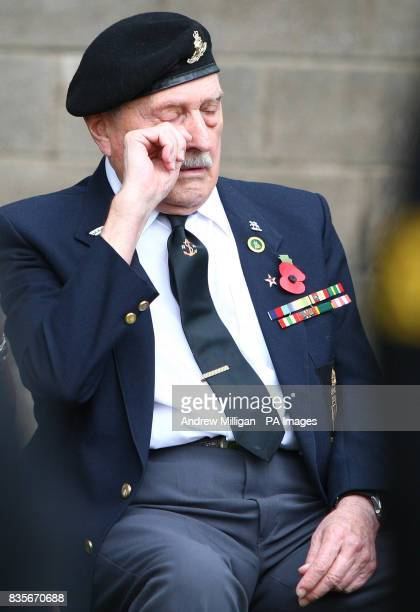 Former machine gunner Alf Tubb during the unveiling ceremony of a headstone at Comely Bank Cemetery in Edinburgh in memory of Reginald Earnshaw his...