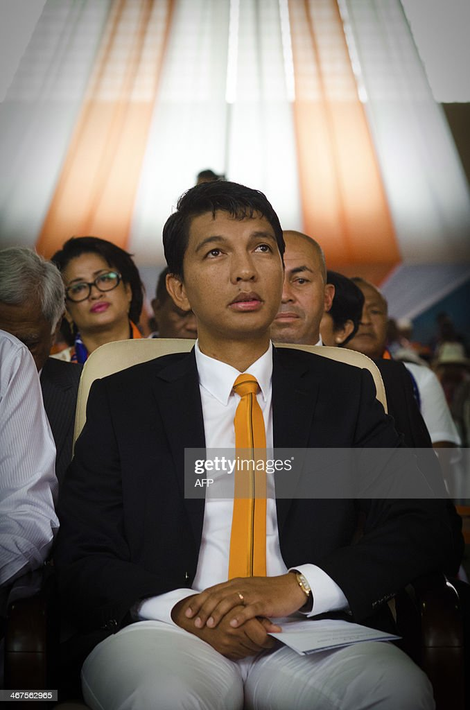 Former Madagascar president <a gi-track='captionPersonalityLinkClicked' href=/galleries/search?phrase=Andry+Rajoelina&family=editorial&specificpeople=4758126 ng-click='$event.stopPropagation()'>Andry Rajoelina</a> attends on February 7, 2014 at Mahamasina stadium in Antananarivo a ceremony for the fifth anniversary of a tragic demonstration. Madagascan presidential guards on February 7, 2009 shot dead 30 supporters of opposition leader <a gi-track='captionPersonalityLinkClicked' href=/galleries/search?phrase=Andry+Rajoelina&family=editorial&specificpeople=4758126 ng-click='$event.stopPropagation()'>Andry Rajoelina</a> as they tried to march on a palace of President Marc Ravalomanana during a protest. Security forces guarding the presidential building opened fire on a crowd of opposition supporters who had marched there at the urging of Rajoelina, killing 30 people and wounding 212.
