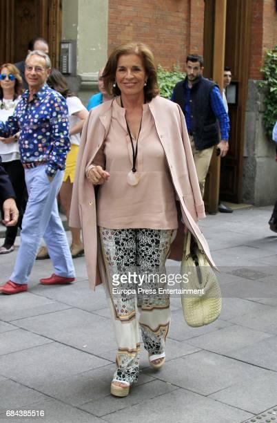Former Madrid Mayor Ana Botella is seen leaving 'El Paraguas' restaurant on May 17 2017 in Madrid Spain