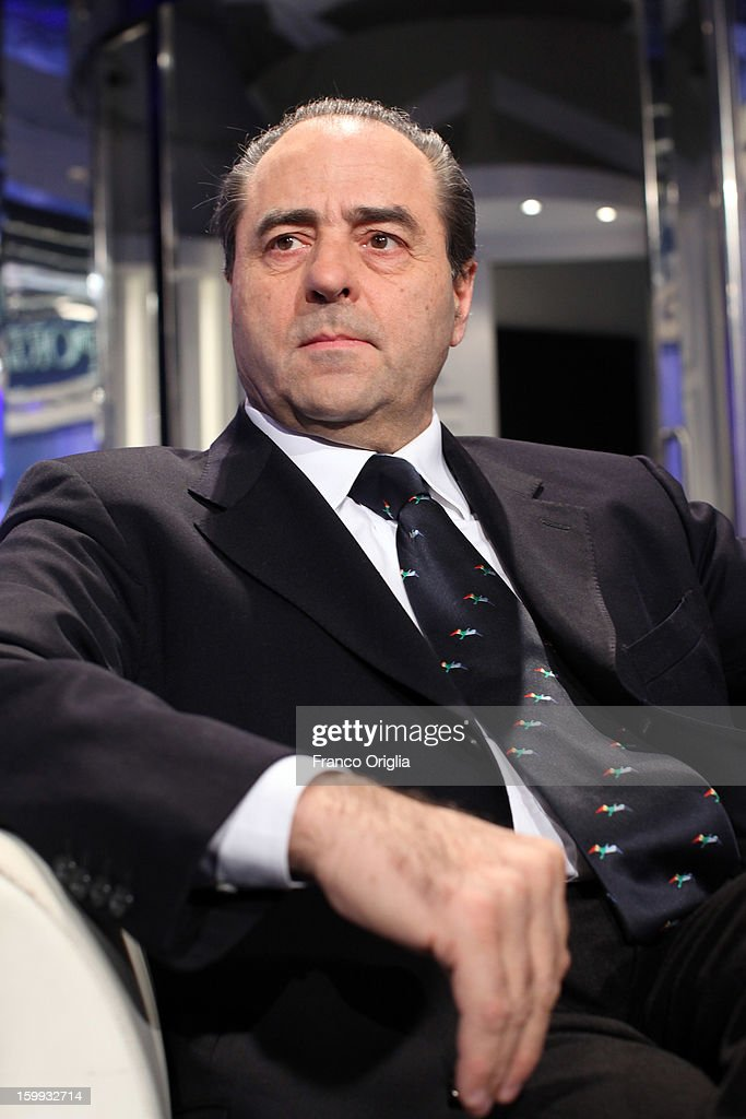 Former magistrate and secretary of the Italia dei Valori political party Antonio Di Pietro attends 'Porta A Porta' TV Show on January 23, 2013 in Rome, Italy. National Elections in Italy are scheduled for February 24.