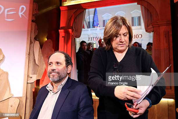 Former magistrate antimafia and candidate for premier judge Antonio Ingroia and TV conductor Lucia Annunziata attend 'Leader' Italian TV Show at the...