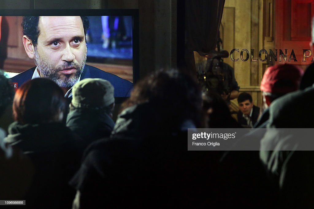 Former magistrate anti-mafia and candidate for premier, judge Antonio Ingroia is diplayed on a screen during 'Leader' Italian TV Show at the Colonna Palace Hotel on January 18, 2013 in Rome, Italy. Antonio Ingroia started his career investigating Cosa Nostra with the Falcone/Borsellino pool and now is the leader of a new political grouping, Rivoluzione CivileÊ- which translates as both Civil andÊCivilised Revolution.