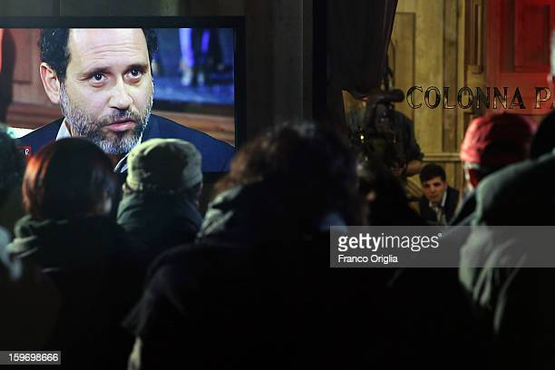 Former magistrate antimafia and candidate for premier judge Antonio Ingroia is diplayed on a screen during 'Leader' Italian TV Show at the Colonna...