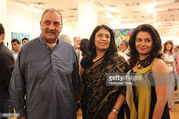 Former Maharaja of Jodhpur Gaj Singh with and gallerist Sunaina Anand and filmmaker Anu Malhotra during her debut art show Hue Borne at Visual Arts...