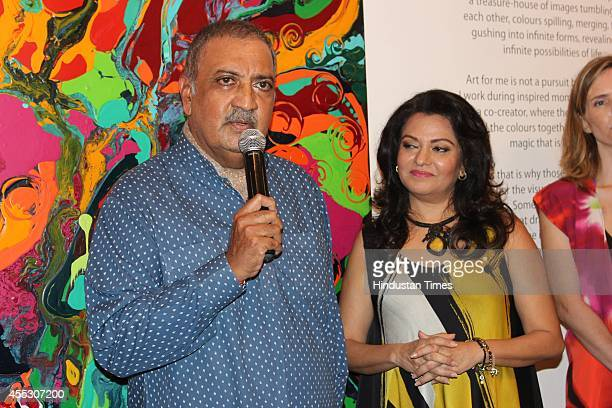 Former Maharaja of Jodhpur Gaj Singh with filmmaker Anu Malhotra during her debut art show Hue Borne at Visual Arts Gallery India Habitat Centre on...