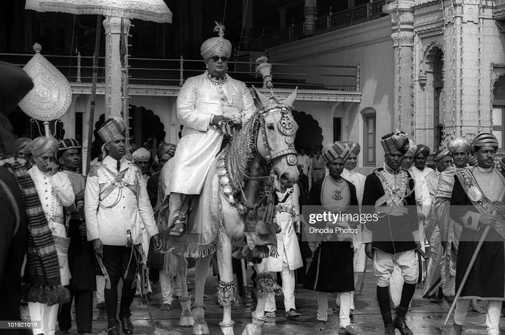 Former Maharaja of Mysore, Jayachamaraja Wodeyar Bahadur (1919 - 1974), on horseback on the day of Ayudha Puja, part of the Hindu Dasara festival, Mysore, Karnataka, India, 1956.