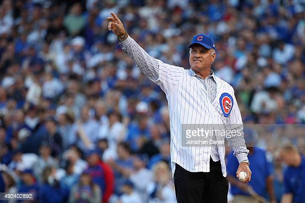 Former Major League Baseball player and manager Ryne Sandberg is introduced prior to throwing out the ceremonial first pitch for game three of the...
