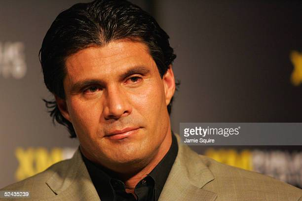 Former Major League Baseball player Jose Canseco discusses steroid use during a town hall meeting and news conference March 16 2005 at XM Satellite...