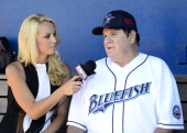 Former Major League Baseball player Pete Rose is interviewed by ESPN prior to managing the game for the Bridgeport Bluefish against the Lancaster...
