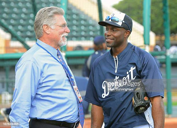 Former major league pitcher Jack Morris talks with Torii Hunter of the Detroit Tigers prior to the spring training game against the Toronto Blue Jays...