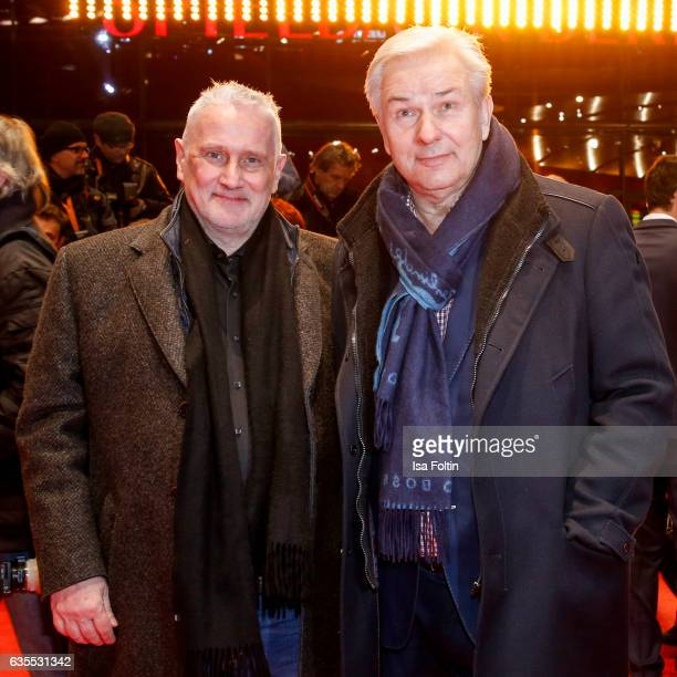 Former major of Berlin Klaus Wowereit and his husband Joern Kubicki attend the 'Return to Montauk' premiere during the 67th Berlinale International...