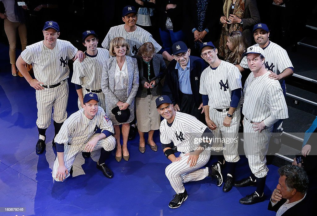 Former Manager and Player of the New York Yankees Yogi Berra (C) and cast attend 'Bronx Bombers' Opening Night at Primary Stages on October 8, 2013 in New York City.
