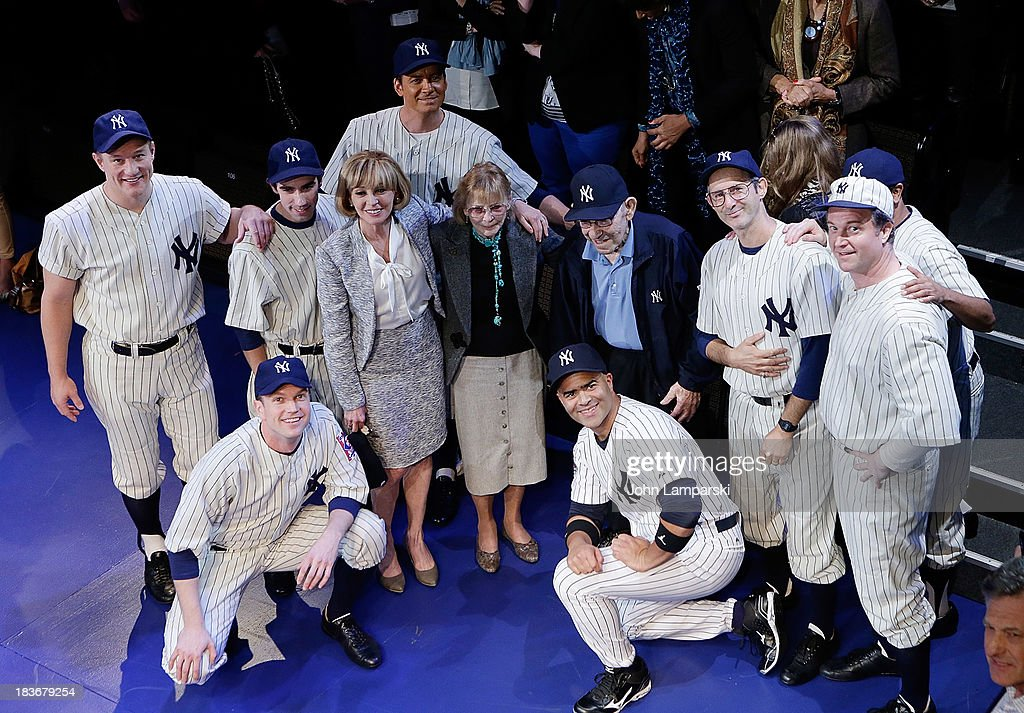 Former Manager and Player of the New York Yankees <a gi-track='captionPersonalityLinkClicked' href=/galleries/search?phrase=Yogi+Berra&family=editorial&specificpeople=94270 ng-click='$event.stopPropagation()'>Yogi Berra</a> (C) and cast attend 'Bronx Bombers' Opening Night at Primary Stages on October 8, 2013 in New York City.