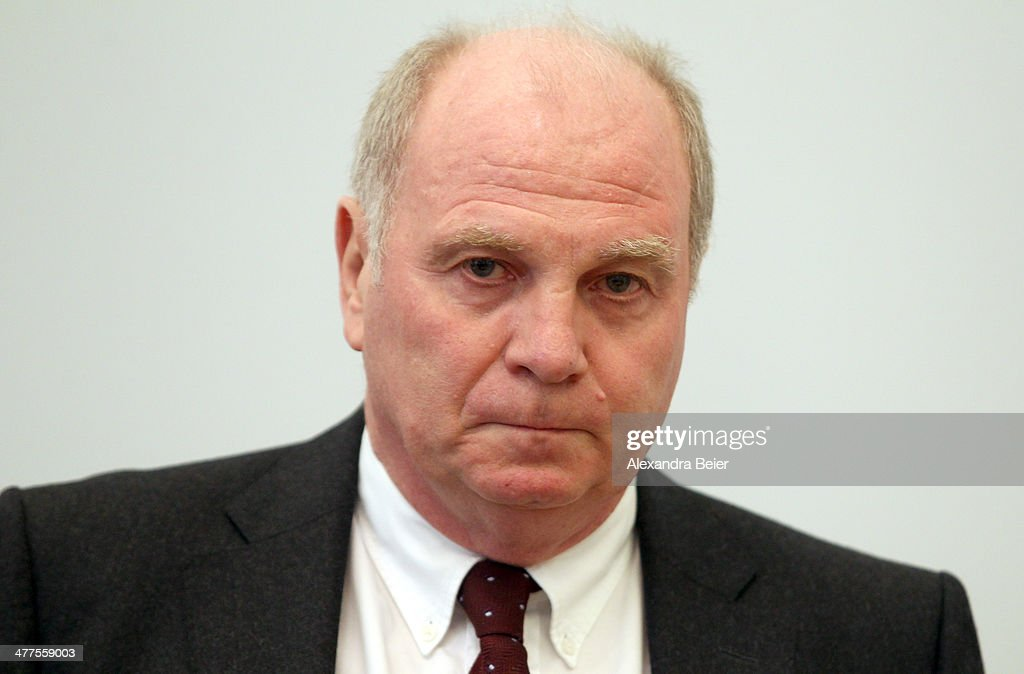 Former manager of Bayern Muenchen <a gi-track='captionPersonalityLinkClicked' href=/galleries/search?phrase=Uli+Hoeness&family=editorial&specificpeople=634868 ng-click='$event.stopPropagation()'>Uli Hoeness</a> awaits the start of his trial at the justice palace court room on March 10, 2014 in Munich, Germany. Hoeness is accused of tax evation.