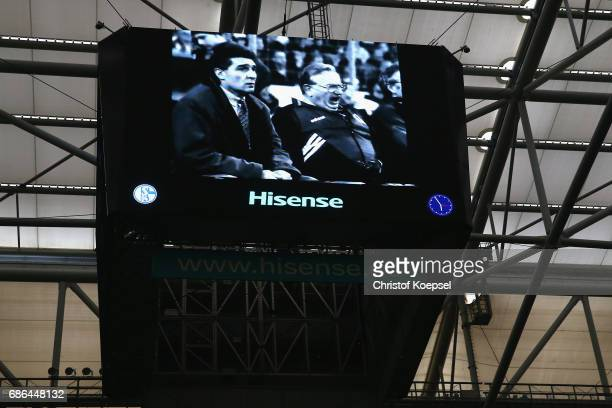 Former manager Rudi Assauer and Cahrly Neumann of Schalke on the video screen during the 20 years of Eurofighter match between Eurofighter and...