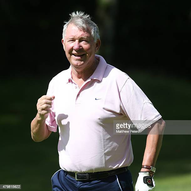Former manager Sir Alex Ferguson of Manchester United takes part in the annual MU Foundation golf day at Dunham Forest Golf and Country Club on July...