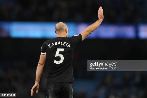Former Manchester City player Pablo Zabaleta of West Ham United acknowledges the crowd during the Premier League match between Manchester City and...