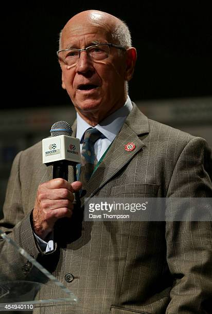 Former Manchester United and England footballer Sir Bobby Charlton officially opens the Soccerex European Forum Conference Programme at Manchester...