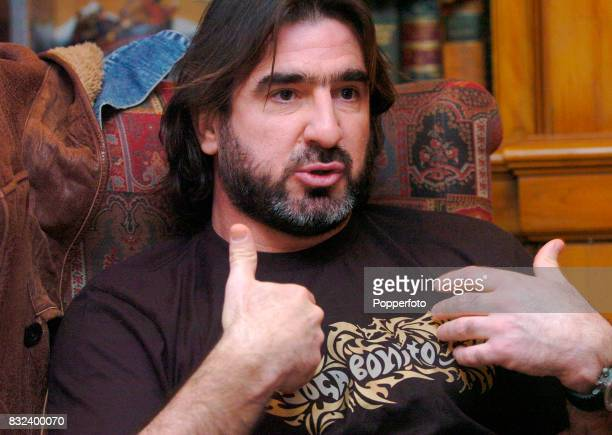 Former Manchester United football player Eric Cantona of France at the Covent Garden Hotel in London England on the 7th February 2006