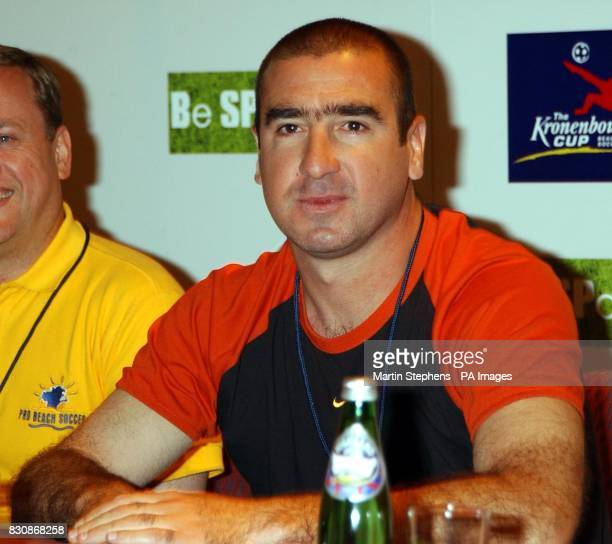 Former Manchester United footballer Eric Cantona at a press conference at the Brighton Hilton Metropole Hotel during the Kronenbourg Cup beach...