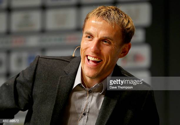 Former Manchester United footballer Phil Neville takes part in a discussion about Manchester United's Class of '92 during the Soccerex European Forum...