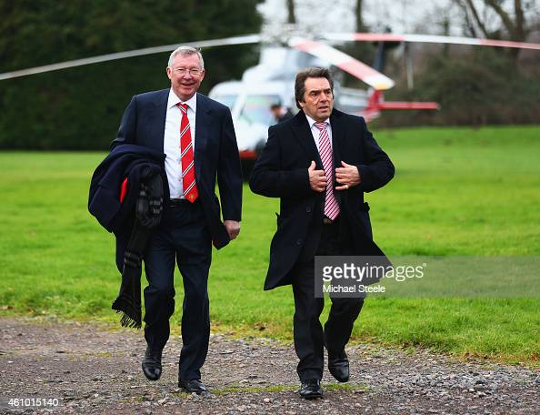 Former Manchester United manager Sir Alex Ferguson arrives by helicopter prior to the FA Cup Third round match between Yeovil Town and Manchester...