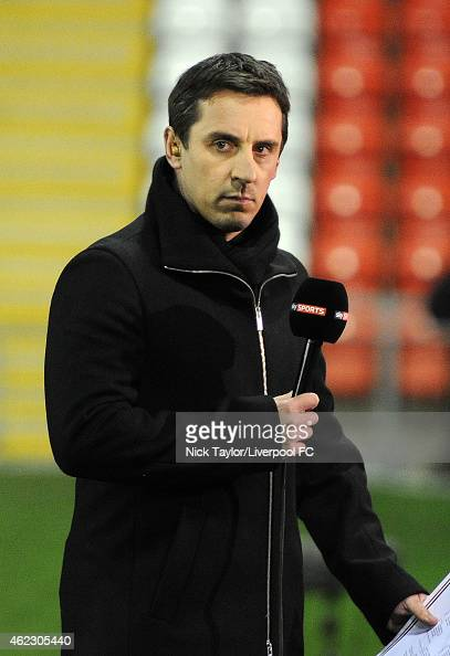Former Manchester United player and current Sky Sports pundit Gary Neville is pitchside before the Barclays U21 Premier League match between...