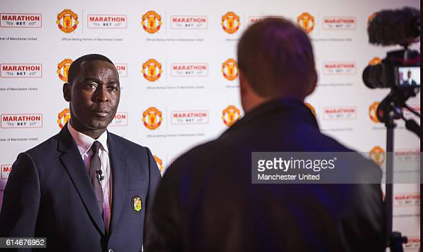 Former Manchester United player Andrew Cole attends a Marathonbet event on October 13 2016 in Manchester England
