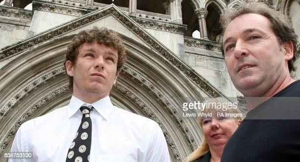 Former Manchester United player Ben Collett leaves the High Court in London with his parents after being awarded more than 43 million in compensation...