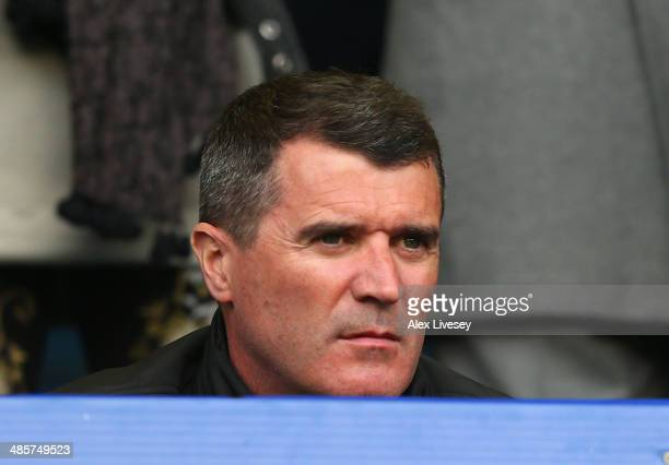 Former Manchester United player Roy Keane looks on during the Barclays Premier League match between Everton and Manchester United at Goodison Park on...