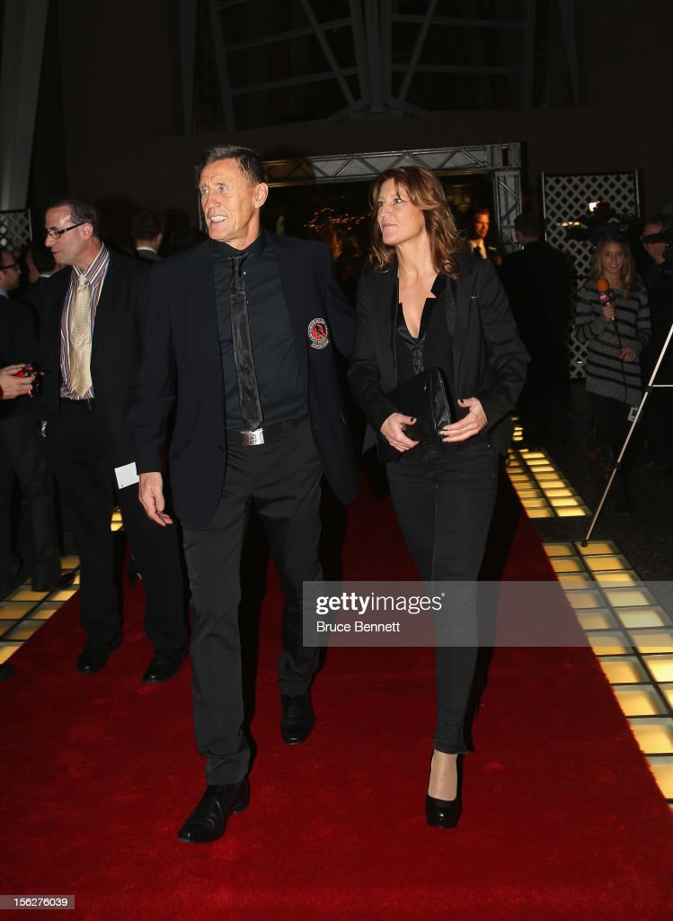 Former Maple Leaf Borje Salming and his wife Pia Lindahl arrive for the Hockey Hall of Fame induction ceremony at Brookfield Place on November 12, 2012 in Toronto, Canada.