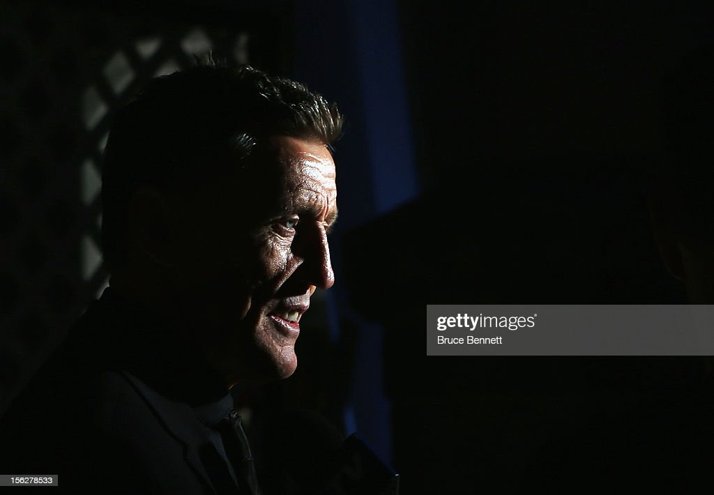 Former Maple Leaf Borje Salming arrives for the Hockey Hall of Fame induction ceremony at Brookfield Place on November 12, 2012 in Toronto, Canada.