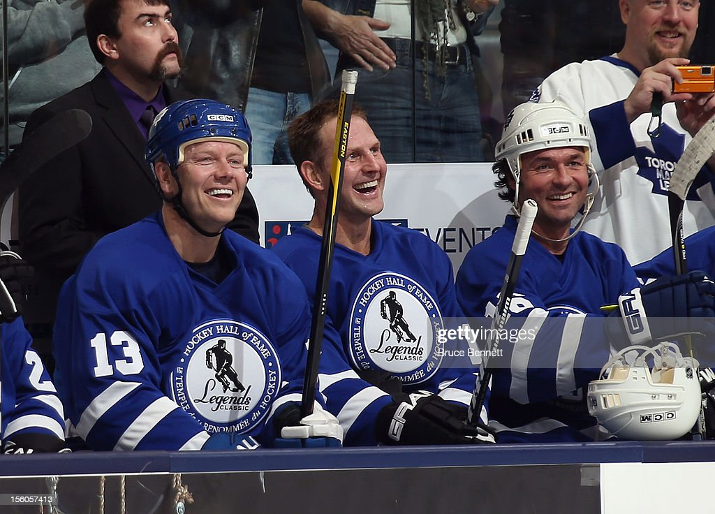 Former Maple Leafs <a gi-track='captionPersonalityLinkClicked' href=/galleries/search?phrase=Mats+Sundin&family=editorial&specificpeople=201858 ng-click='$event.stopPropagation()'>Mats Sundin</a>, <a gi-track='captionPersonalityLinkClicked' href=/galleries/search?phrase=Gary+Roberts&family=editorial&specificpeople=202846 ng-click='$event.stopPropagation()'>Gary Roberts</a>, and <a gi-track='captionPersonalityLinkClicked' href=/galleries/search?phrase=Darcy+Tucker+-+Ice+Hockey+Player&family=editorial&specificpeople=201928 ng-click='$event.stopPropagation()'>Darcy Tucker</a> play in the Hockey Hall of Fame Legends Game at the Air Canada Centre on November 11, 2012 in Toronto, Canada. Sundin will be the second Swedish born player inducted into the Hall on November 12.