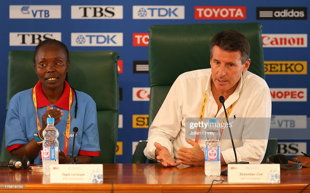 Former Marathon World record holder Tegla Loroupe of Kenya, IAAF Vice President, Lord Sebastian Coe attend the IAAF Ambassador Programme Press Conference during Day One of the 14th IAAF World Athletics Championships Moscow 2013 at Luzhniki Stadium on August 10, 2013 in Moscow, Russia.