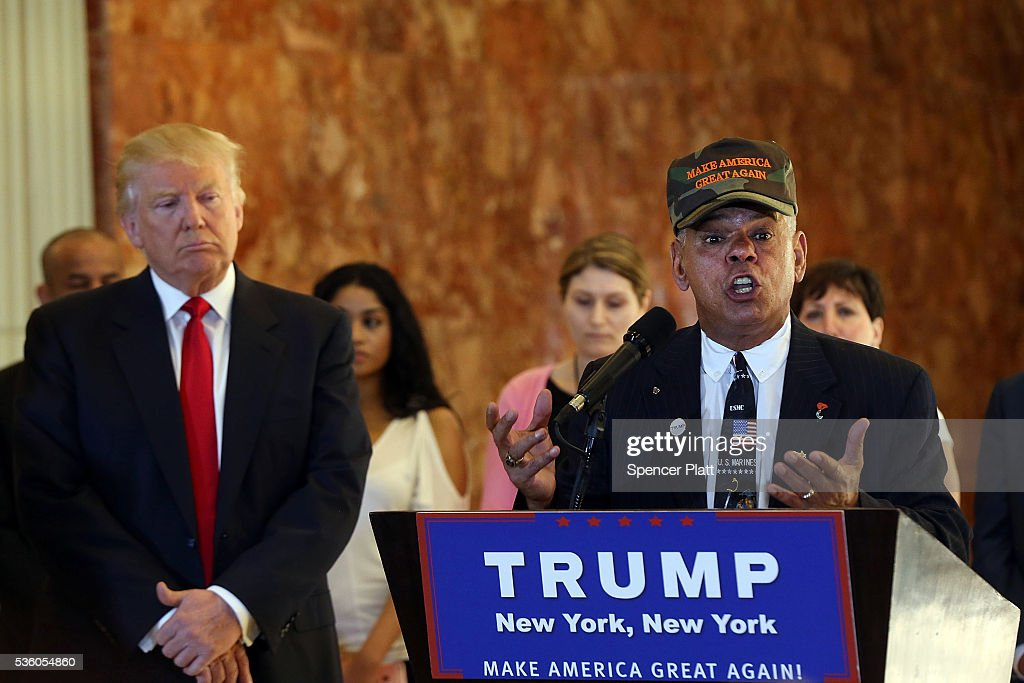 Former Marine Al Baldasaro defends the donations of Republican presidential candidate Donald Trump at a news conference at Trump Tower where Trump addressed issues about the money he pledged to donate to veterans groups on May 31, 2016 in New York City. Trump had previously said he had raised $6 million at the nationally broadcast fund-raiser he attended instead of the debate and that he would donate it all to veterans groups.