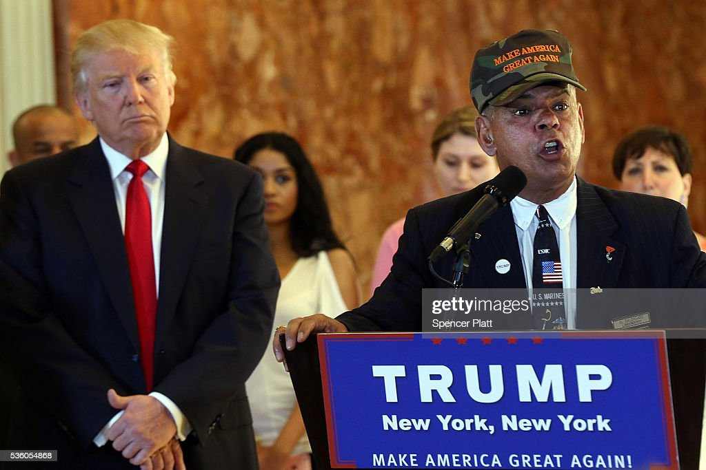 Former Marine Al Baldasaro defends the donations of Republican presidential candidate <a gi-track='captionPersonalityLinkClicked' href=/galleries/search?phrase=Donald+Trump+-+Born+1946&family=editorial&specificpeople=118600 ng-click='$event.stopPropagation()'>Donald Trump</a> at a news conference at Trump Tower where Trump addressed issues about the money he pledged to donate to veterans groups on May 31, 2016 in New York City. Trump had previously said he had raised $6 million at the nationally broadcast fund-raiser he attended instead of the debate and that he would donate it all to veterans groups.
