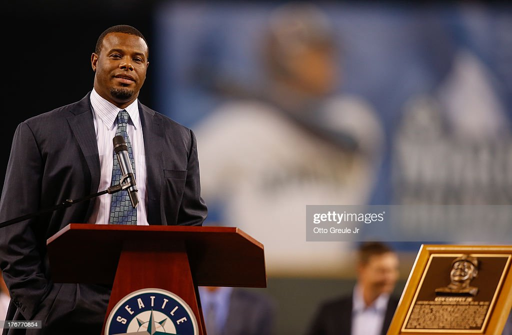 Former Mariners great Ken Griffey Jr speaks to the crowd during a ceremony inducting him into the Seattle Mariners Hall of Fame prior to the game...