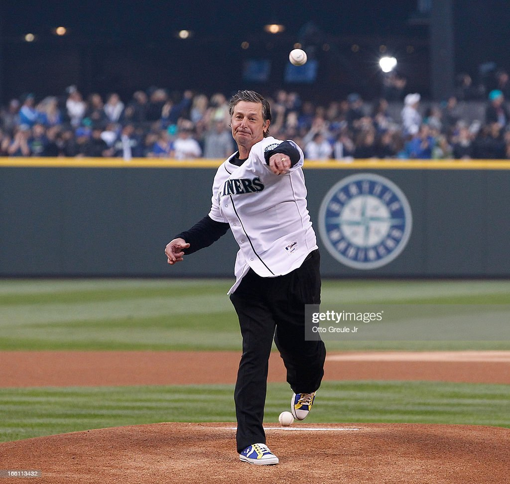 Former Mariners pitcher <a gi-track='captionPersonalityLinkClicked' href=/galleries/search?phrase=Jamie+Moyer&family=editorial&specificpeople=210524 ng-click='$event.stopPropagation()'>Jamie Moyer</a> throws out the ceremonial first pitch prior to the game against the Houston Astros on Opening Day at Safeco Field on April 8, 2013 in Seattle, Washington. The Mariners defeated the Astros 3-0.