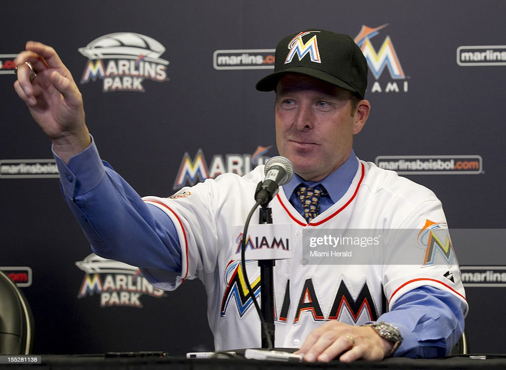Former Marlins catcher Mike Redmond is introduced as the new Miami Marlins manager at Marlins Park in Miami, Florida, on Friday, November 2, 2012.