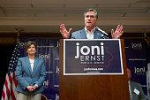 Former Massachusetts Gov and GOP presidential candidate Mitt Romney speaks on behalf of Iowa Republican State Senator and US Senate candidate Joni...