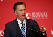 Former Massachusetts Gov Mitt Romney gives a speech on the state of the Republican party at the Hinckley Institute of Politics on the campus of the...