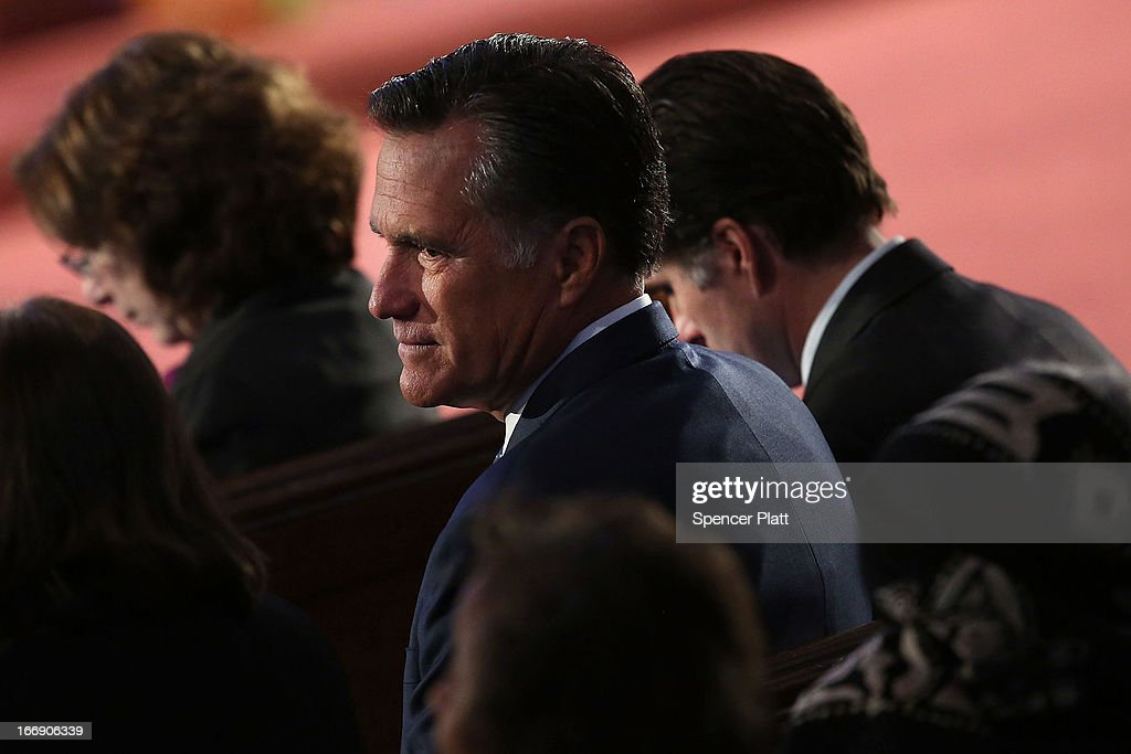 Former Massachusetts Governor and 2012 Republican presidential nominee <a gi-track='captionPersonalityLinkClicked' href=/galleries/search?phrase=Mitt+Romney&family=editorial&specificpeople=207106 ng-click='$event.stopPropagation()'>Mitt Romney</a> attends an interfaith prayer service for victims of the Boston Marathon attack titled 'Healing Our City,' where President Barack Obama spoke at the Cathedral of the Holy Cross on April 18, 2013 in Boston, Massachusetts. Authorities investigating the attack on the Boston Marathon have shifted their focus to locating the person who placed a black bag down and walked away just before the bombs went off. The twin bombings at the 116-year-old Boston race, which occurred near the marathon finish line, resulted in the deaths of three people and more than 170 others injured.