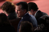 Former Massachusetts Governor and 2012 Republican presidential nominee Mitt Romney attends an interfaith prayer service for victims of the Boston...
