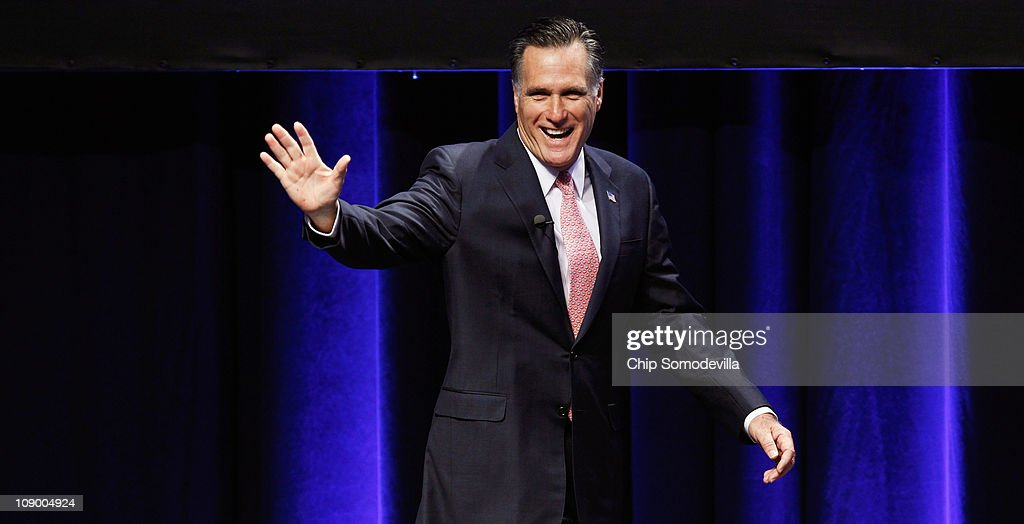 Former Massachusetts Governor <a gi-track='captionPersonalityLinkClicked' href=/galleries/search?phrase=Mitt+Romney&family=editorial&specificpeople=207106 ng-click='$event.stopPropagation()'>Mitt Romney</a> addresses the Conservative Political Action Conference at the Marriott Wardman Park February 11, 2011 in Washington, DC. A dozen potential Republican presidental hopefuls are set to address CPAC, the biggest gathering of conservative activists in the country.