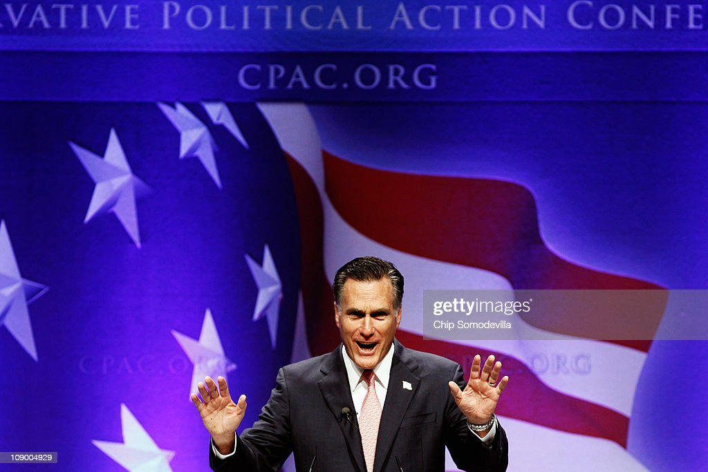 Former Massachusetts Governor Mitt Romney addresses the Conservative Political Action Conference at the Marriott Wardman Park February 11, 2011 in Washington, DC. A dozen potential Republican presidental hopefuls are set to address CPAC, the biggest gathering of conservative activists in the country.