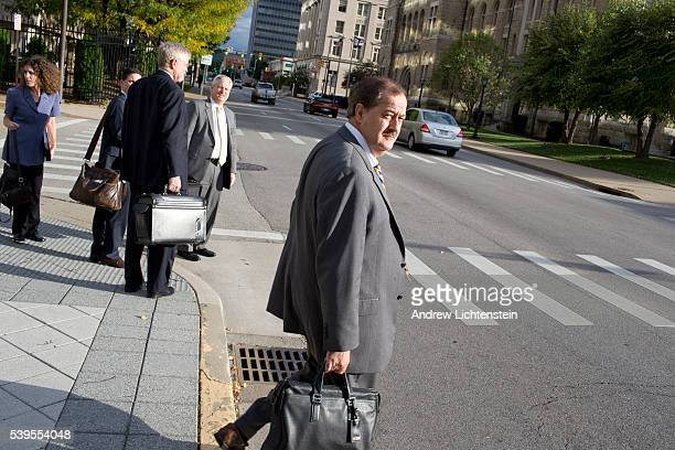 Former Massey Energy CEO Don Blankenship leaves the Federal Courthouse in Charleston West Virginia with his legal team He is on trial for hiding...