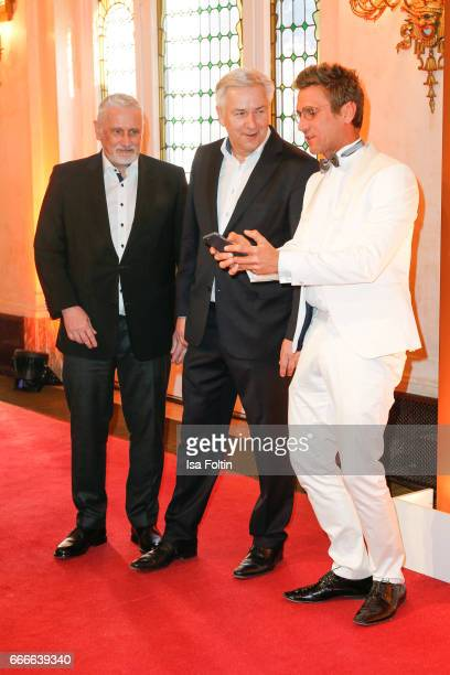 Former mayor of Berlin Klaus Wowereit with his husband Joern Kubicki and german actor and presenter Peer Kusmagk and his girlfriend Janni Hoenscheid...