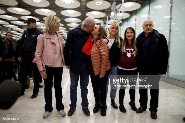 Former mayor of Caracas Antonio Ledezma kisses his wife Mitzy Capriles amid his family at his arrival to Adolfo Suarez Madrid Barajas Airport on...