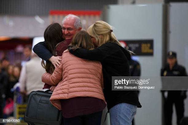Former mayor of Caracas Antonio Ledezma meets his wife Mitzy Capriles and daughters at his arrival to Adolfo Suarez Madrid Barajas Airport on...